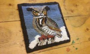 Punch needle rug hooked owl