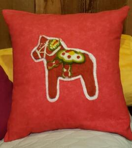 Painting with Wool Dala Horse