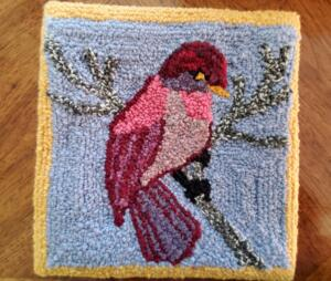 Punch  Needle Rug Hooked Finch