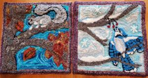 """Punch needle rug hooking """"autumn"""" and """"winter"""" from 4-Seasons Tree design"""
