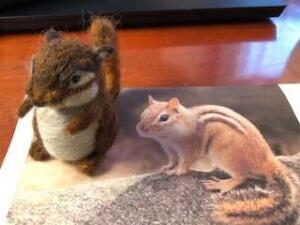 Needle felted chipmunk, with legs!