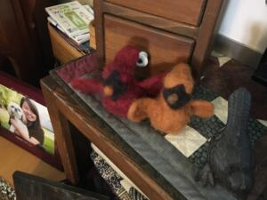 Needle felted cardinals