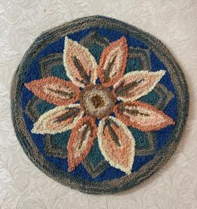 Punch needle rug hooked flower